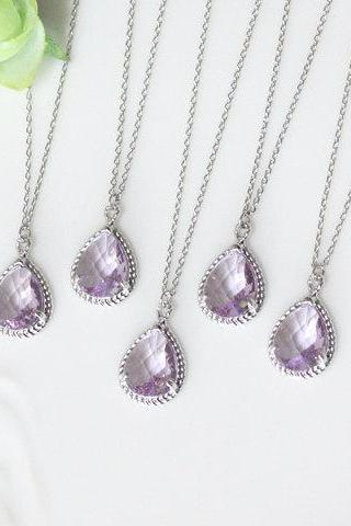 Bridesmaid gifts - Set of 7 - Lavender crystal drop necklace, Gorgeous Drop, stone in twisted bezel