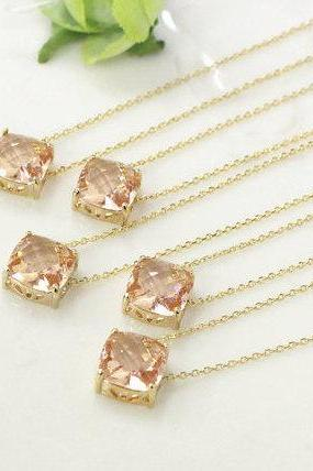 Bridesmaid gifts - Set of 5 - Champagne pendant necklace, wedding, bridesmaid necklace, Peach necklace,stone in bezel, glass stone