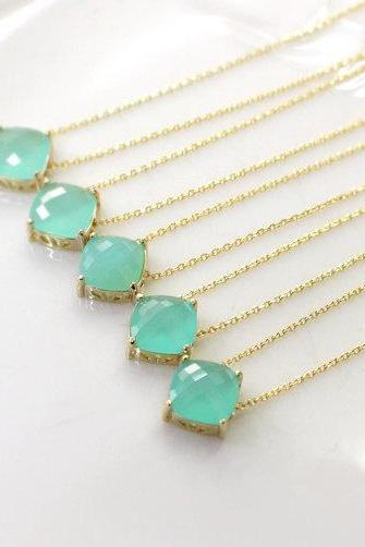 Bridesmaid gifts - Set of 5 - Mint diamond crystal necklace, stone in bezel, glass stone