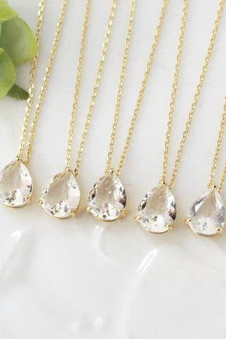 Bridesmaid gifts - Set of 4- clear crystal necklace, Gorgeous Drop,stone in bezel,raindrop Necklace