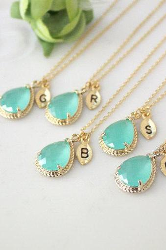 Bridesmaid gifts - Set of 7- Leaf initial, Mint crystal drop necklace, Gorgeous Drop ,stone in twisted bezel, B0083-G