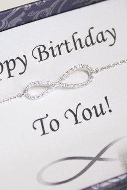 Infinity bracelet with birthday card, lover, best friend, family, Bridesmaid gifts, wedding bracelet - ER2001