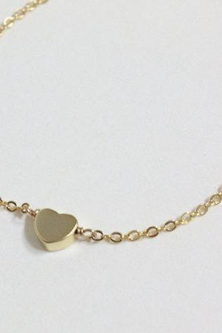 Bridesmaid gifts - Set of 7- Golden tiny heart simple bracelet