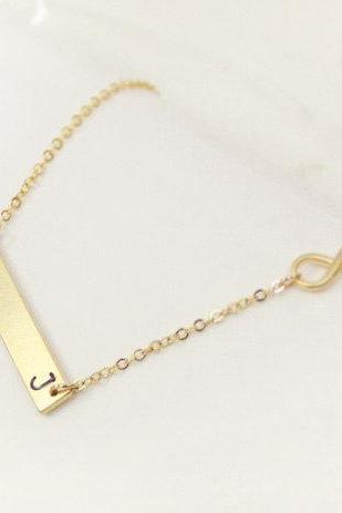 Personalized Gold Infinity Necklace With Engraved Initial Bar Necklace