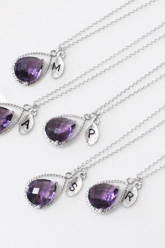 Bridesmaid gifts - Set of 7-Leaf initial, purple necklace, Gorgeous Drop, Initial necklace