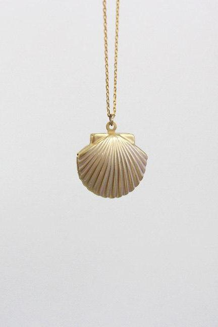 gold Locket necklace, Seashell Necklace, Gold Shell Necklace, 24' long necklace, For Beach Weddings