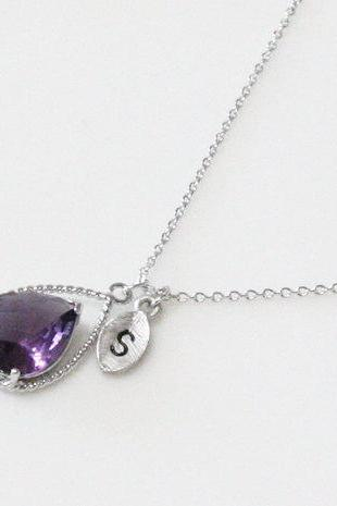 Initial necklace, Leaf initial, Amethyst purple crystal drop necklace, Gorgeous Drop,stone in twisted bezel