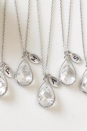Bridesmaid gifts - Set of 6 -Leaf initial, Clear crystal drop necklace, Gorgeous Drop ,stone in twisted bezel,Initial necklace