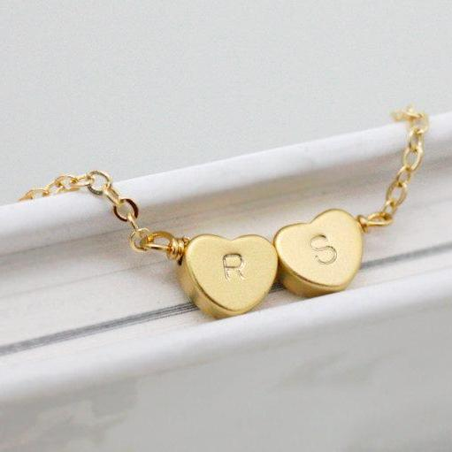 Initial bracelet,Heart initial bracelet,Double heart bracelet,Personalized bracelet,simple and delicate jewerly,best friend bracelet,wedding